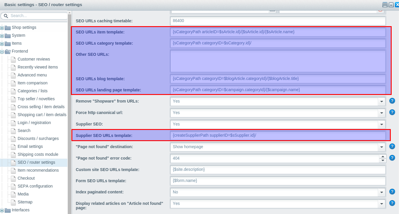Shopware's seo settings
